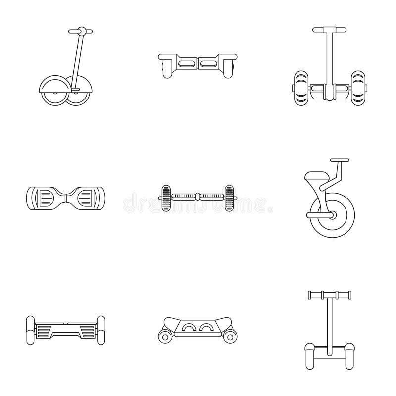 Grupo de equilíbrio do ícone do 'trotinette' do auto, estilo do esboço ilustração stock