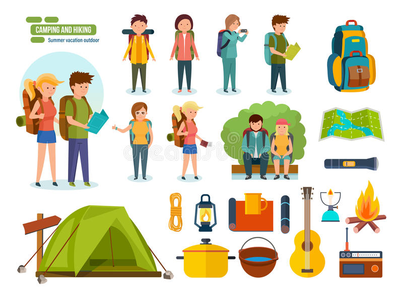 Grupo de equipamento de acampamento, mochileiros, montanhistas, para a recreação ativa, povos ilustração stock
