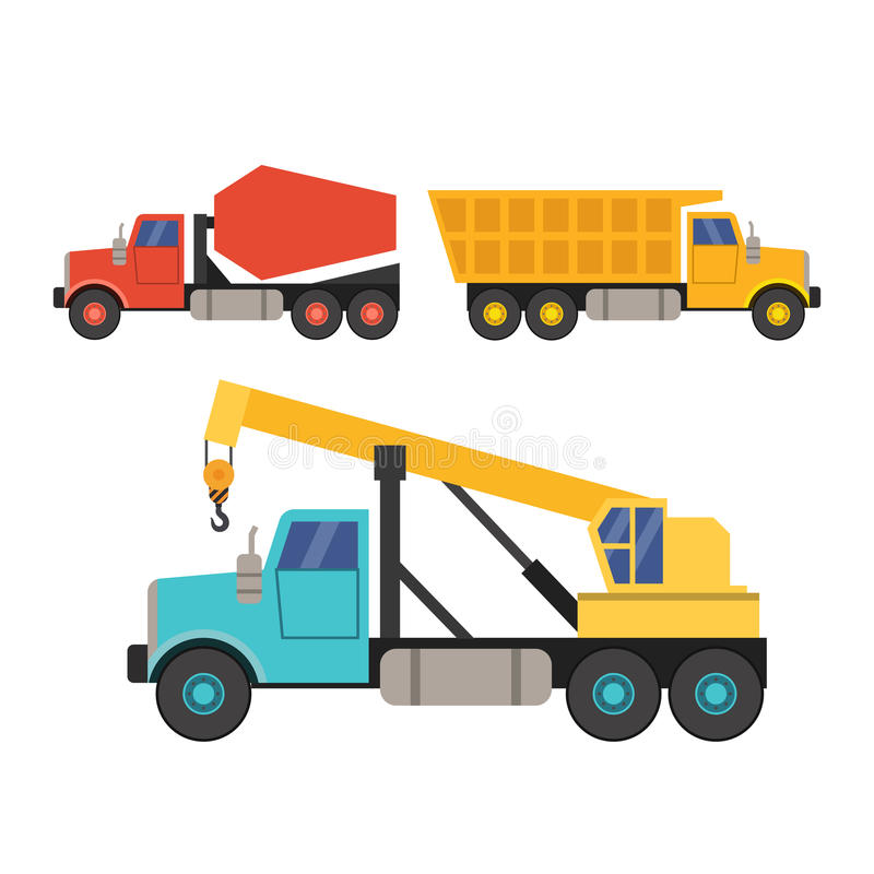 Grupo de equipamento de construção no estilo liso guindaste, caminhão e misturador concreto ilustração do vetor