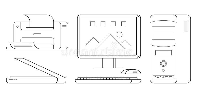 Grupo de equipamento de escritório do computador ilustração stock