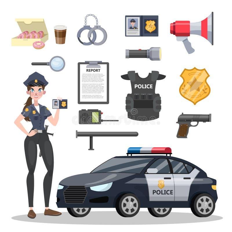 Grupo de equipamento do agente da polícia Polícia bonito ilustração do vetor