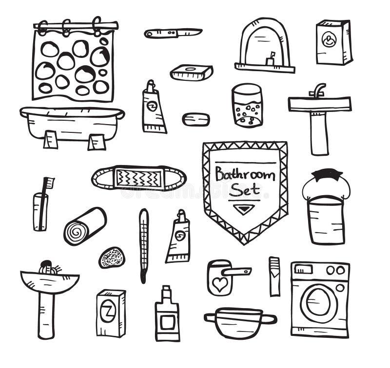 Grupo de equipamento do banheiro Ilustração do vetor ilustração stock