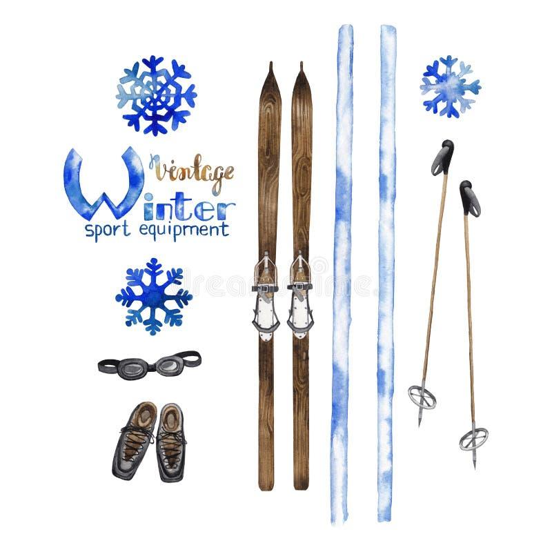 Grupo de equipamento do esqui do vintage ilustração do vetor