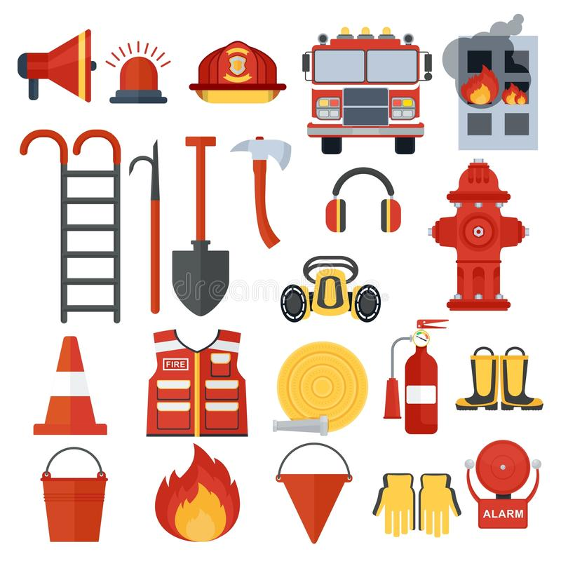 Grupo de equipamento do fogo ilustração stock