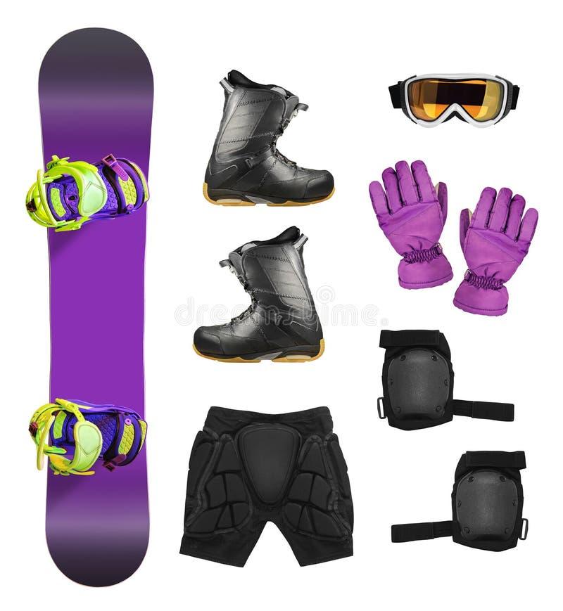 Grupo de equipamento do snowboard imagem de stock royalty free