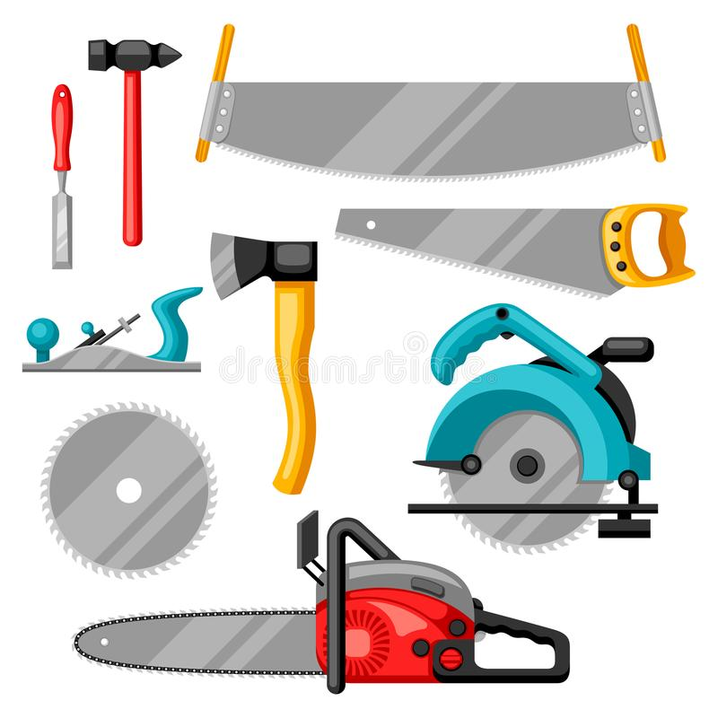 Grupo de equipamento e de ferramentas para a silvicultura e a indústria da madeira serrada ilustração do vetor