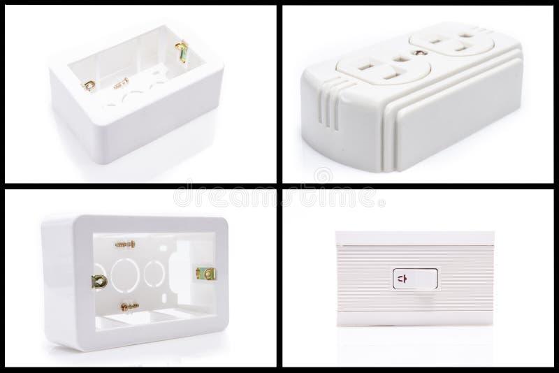 Grupo de equipamento elétrico isolado no branco foto de stock