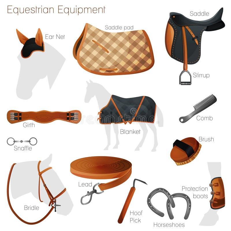 Grupo de equipamento equestre Vetor ilustração do vetor