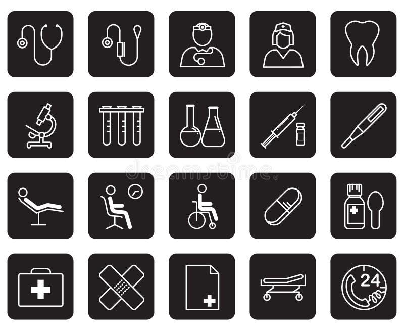 Grupo de equipamento médico e fontes no fundo preto ilustração do vetor