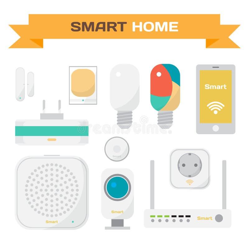 Grupo de equipamento para a casa esperta Sensores de movimento ilustração royalty free