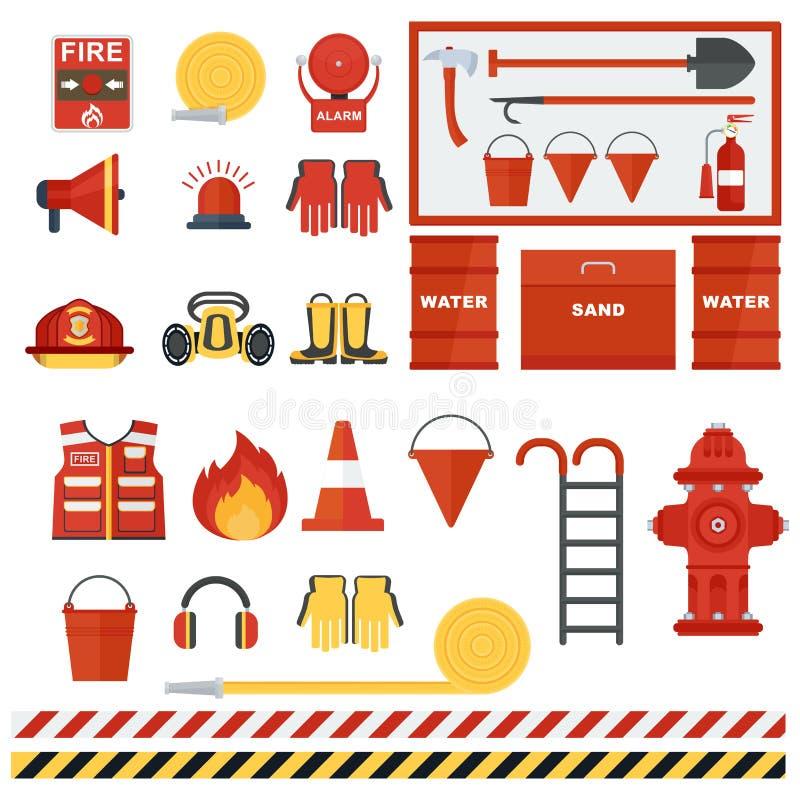 Grupo de equipmen do fogo ilustração royalty free