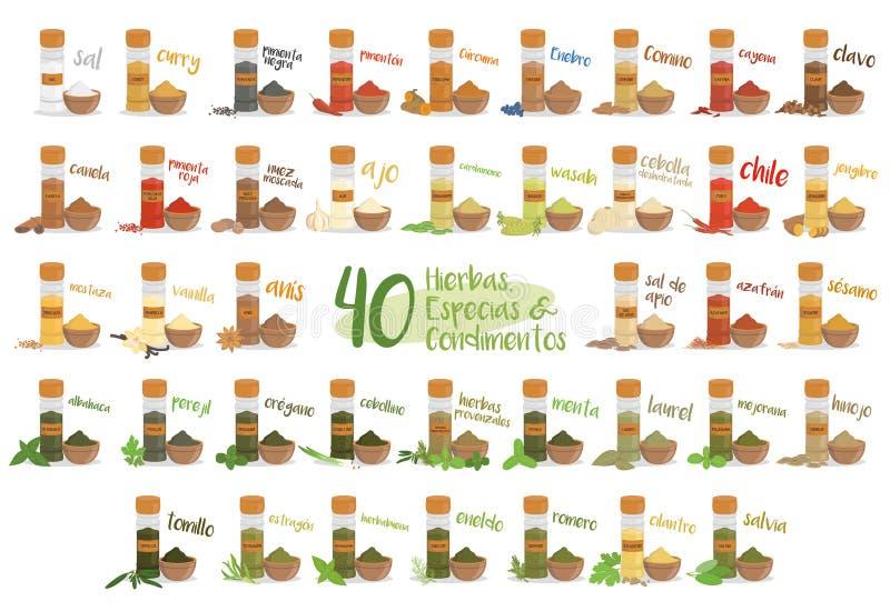 Grupo de 40 ervas, espécies e condimentos culinários diferentes no estilo dos desenhos animados Nomes espanhóis Ilustração do vet ilustração royalty free
