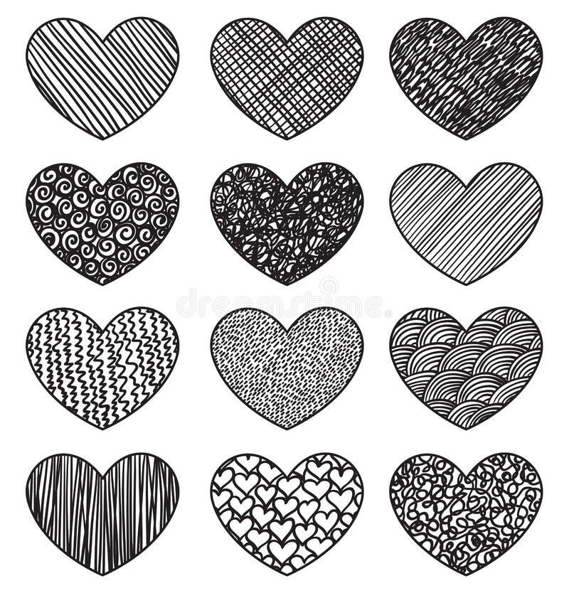 Grupo de esboçar corações ilustração stock