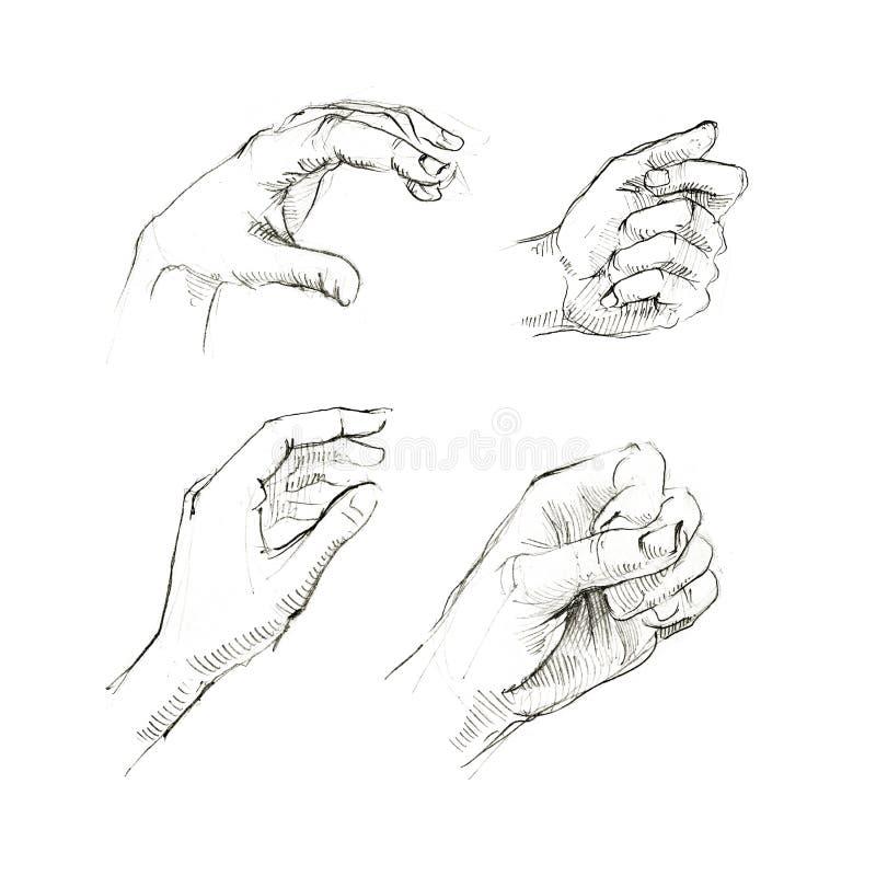 Grupo de esboço humano das mãos ilustração royalty free