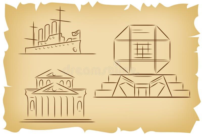 Grupo de esboços tirados mão do esboço de marcos famosos - teatro de Bolshoi em Moscou, Rússia, Aurora do cruzador em StPetersbur ilustração royalty free