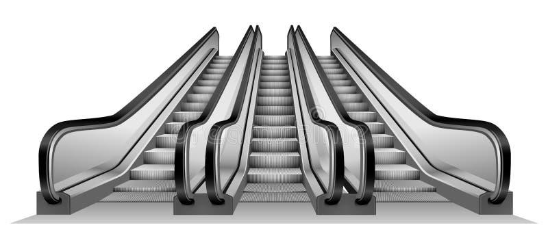 Grupo de escada rolante no modelo do metro, estilo realístico ilustração stock