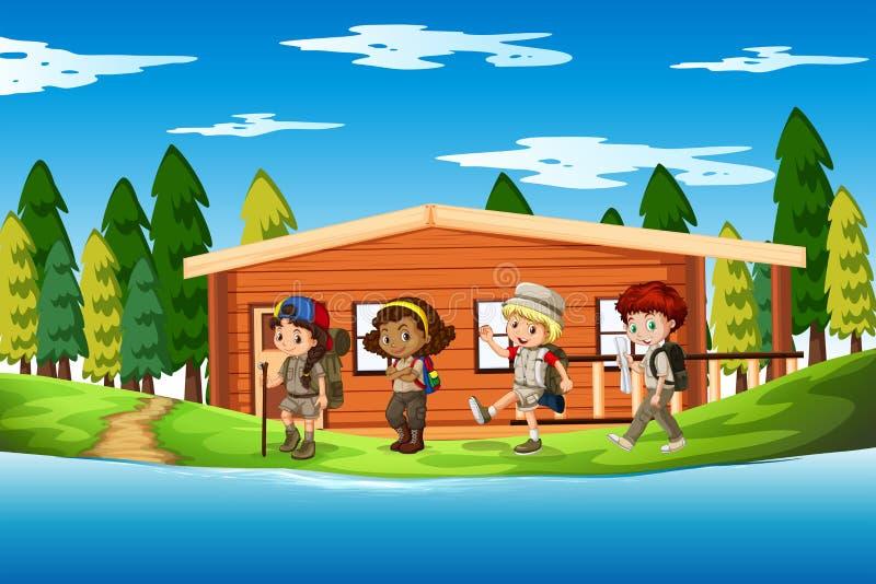 Grupo de escena de los exploradores ilustración del vector