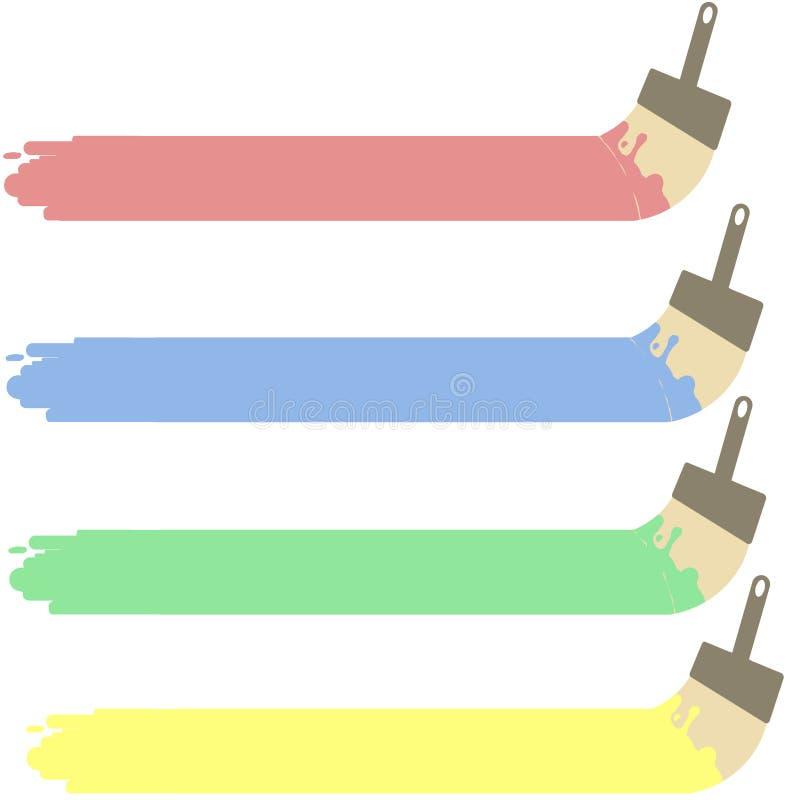 Grupo de escovas da cor pastel da pintura no fundo branco imagem de stock