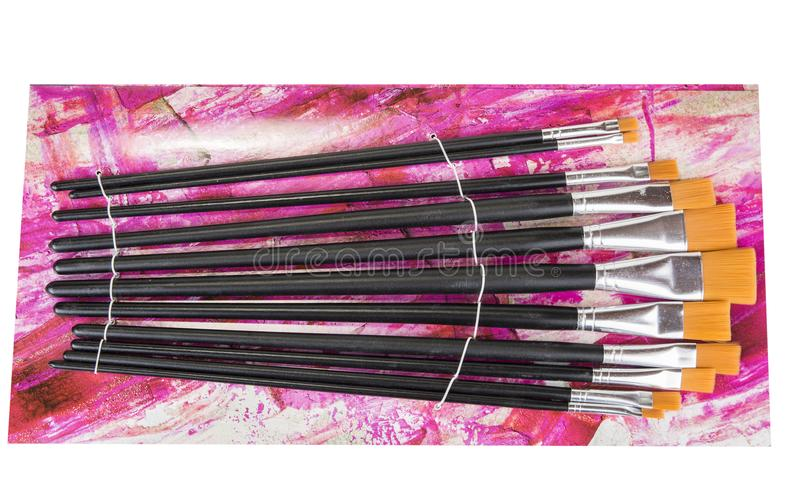 Grupo de escovas não utilizado novo da pintura Vários tamanhos imagem de stock