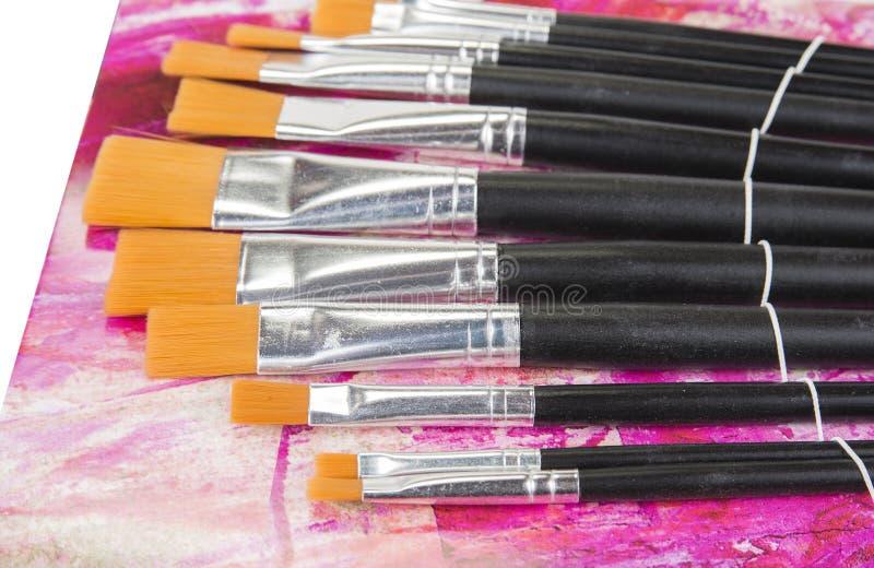 Grupo de escovas não utilizado novo da pintura Vários tamanhos fotos de stock