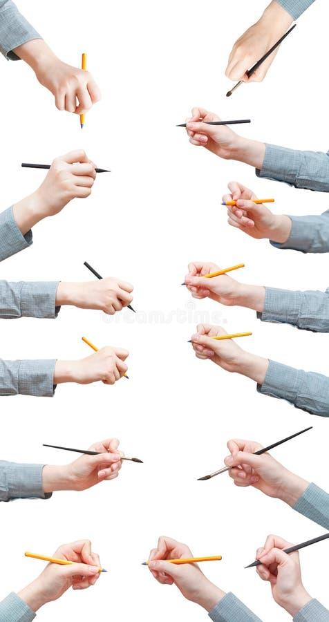 Grupo de escrever as mãos fêmeas foto de stock
