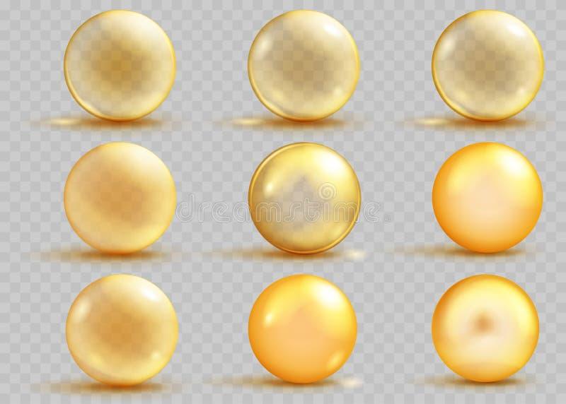 Grupo de esferas amarelas transparentes e opacas com sombras ilustração royalty free