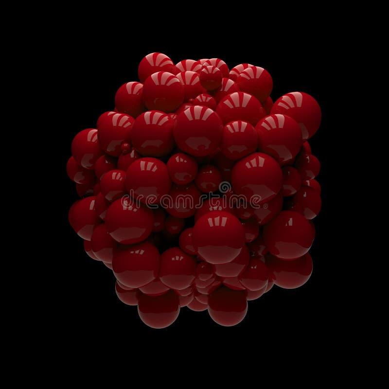 Grupo de esferas lustrosas vermelhas ilustração do vetor