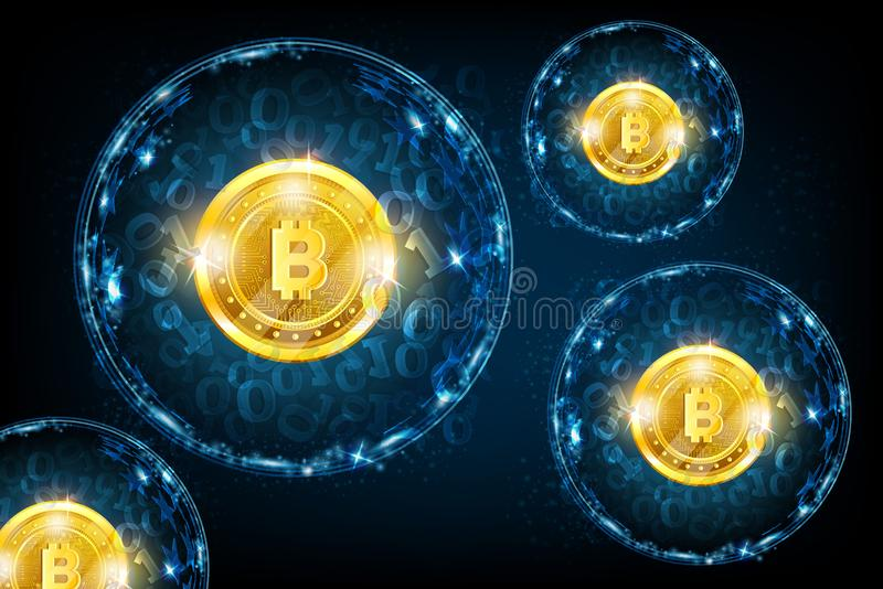 Grupo de esferas redondas con código binario y la moneda mordida de oro en el centro Fondo del azul del negocio stock de ilustración