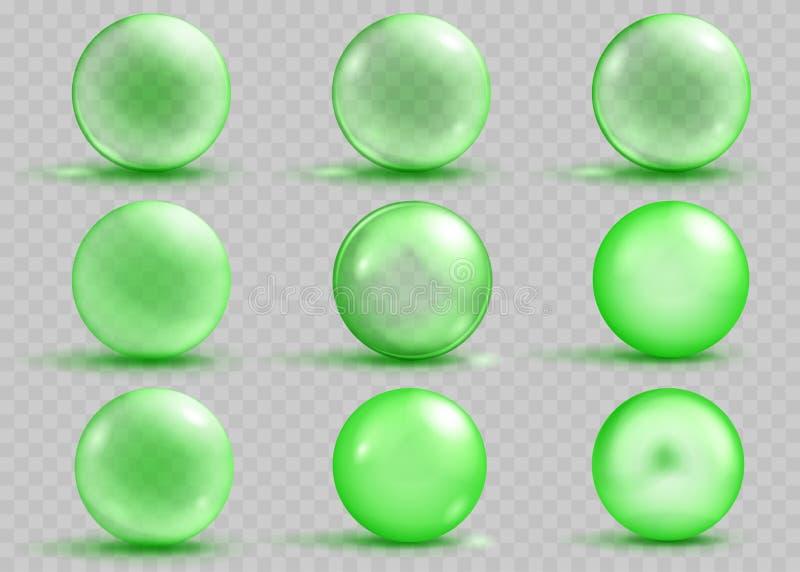 Grupo de esferas verdes transparentes e opacas com sombras ilustração royalty free
