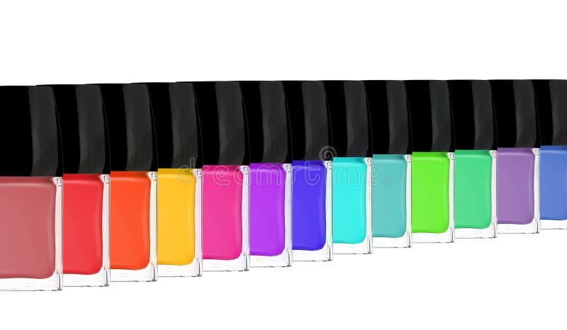 Grupo de esmaltes de uñas brillantes aislados en blanco fotografía de archivo