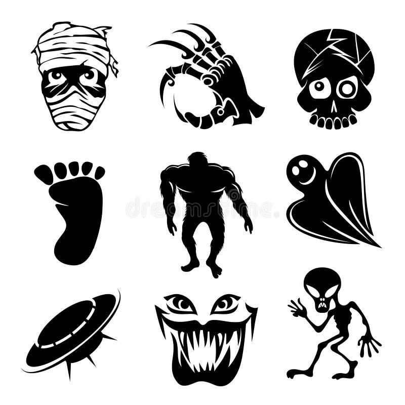 Grupo de espíritos necrófagos do fantasma e dos ícones estrangeiros ilustração do vetor