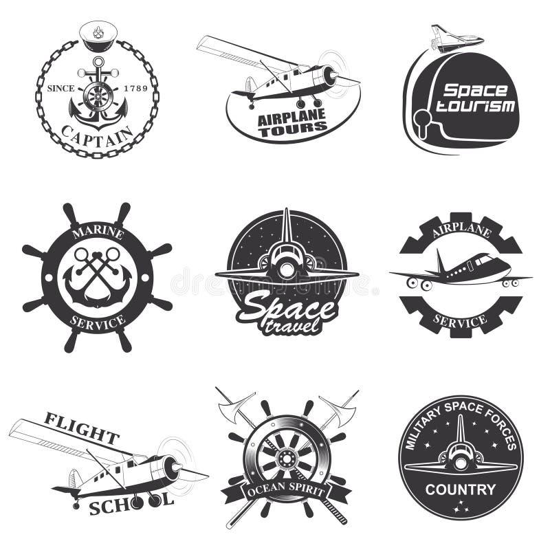 Grupo de espaço do vintage, náutico, emblemas do voo da aeronáutica ilustração stock