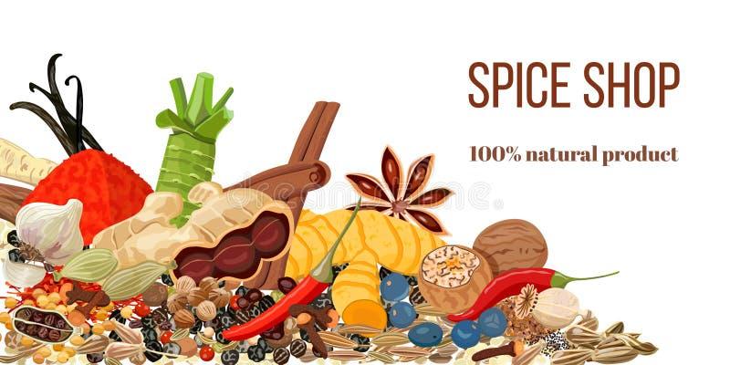 Grupo de especiarias culinárias populares realísticas Logotipo da loja da especiaria Sinal da loja com carro de compra ilustração royalty free