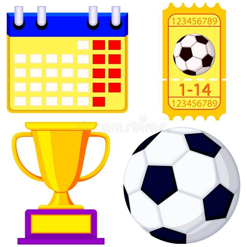 Grupo de espera do ícone dos desenhos animados do campeonato do futebol ilustração royalty free