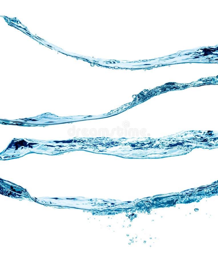 Grupo de espirrar ondas de água, isolado no fundo branco fotos de stock