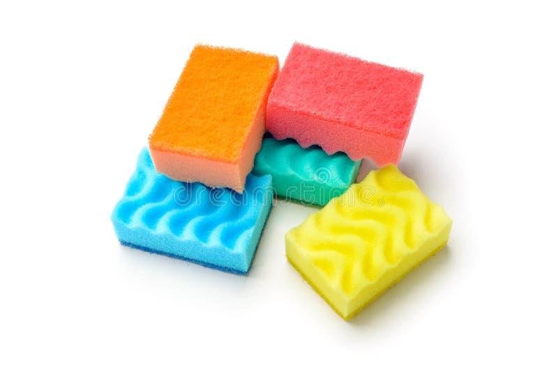Grupo de esponjas coloridas fotos de stock