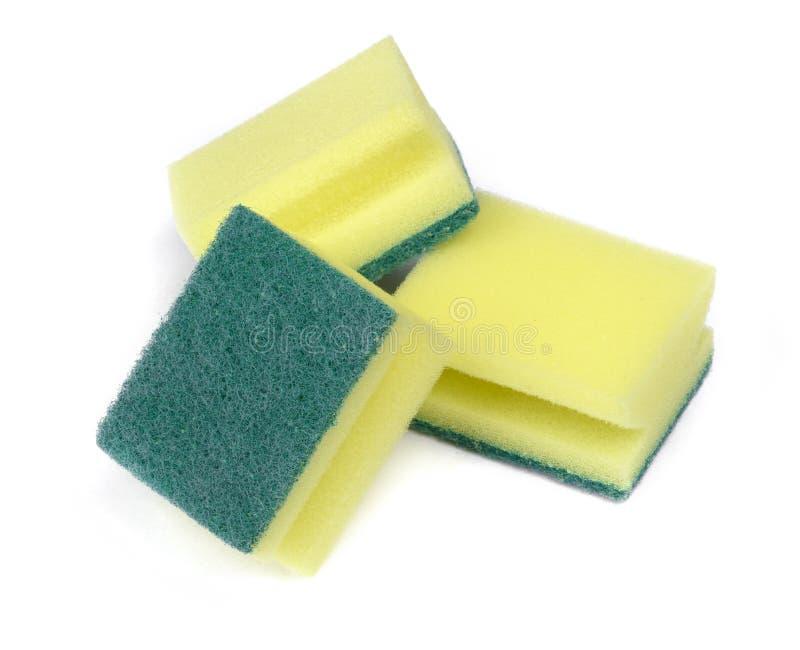 Grupo de esponjas novas da lavagem da louça fotografia de stock royalty free