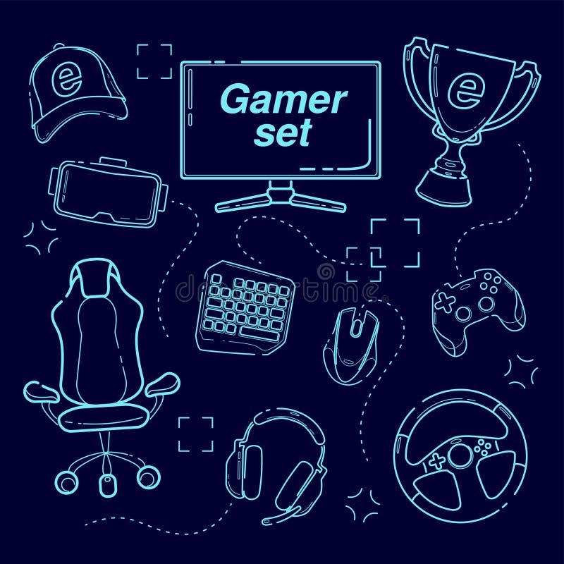Grupo de ESports, dispositivos do jogo, linha ícone do grupo Dispositivos modernos para os jogos de vídeo, auriculares para a rea ilustração stock