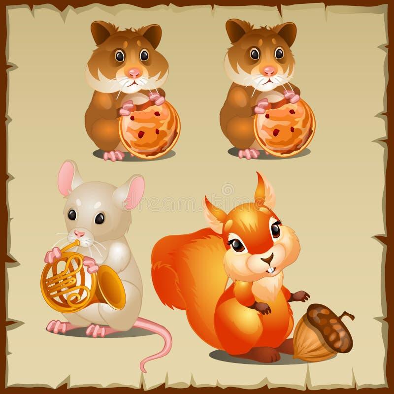 Grupo de esquilo com hamster e rato ilustração do vetor