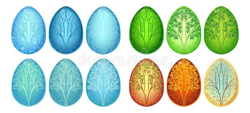 Grupo de estações dos ovos da páscoa foto de stock