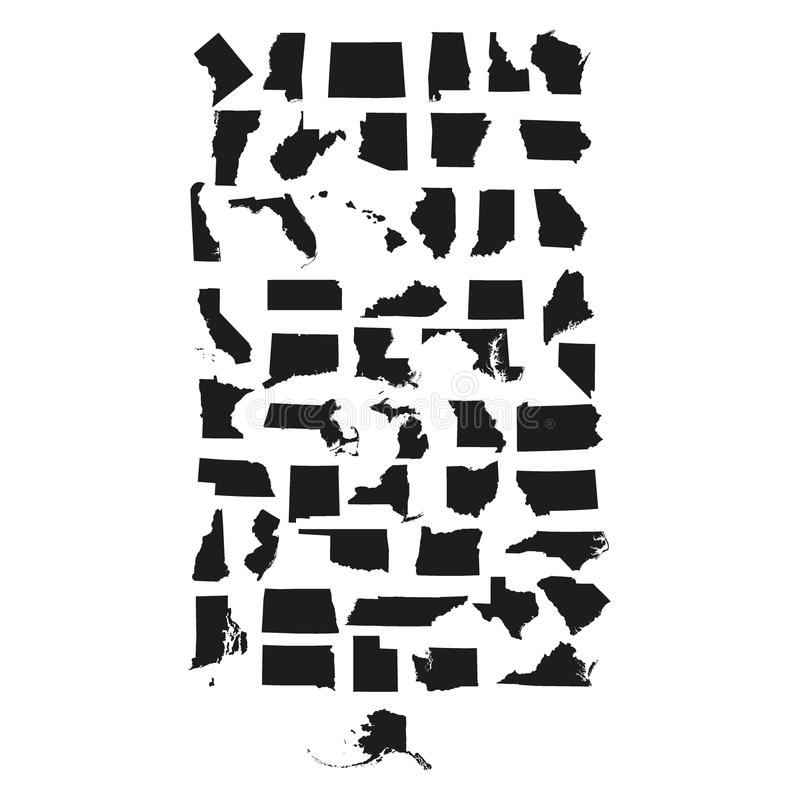 Grupo de estados de E.U. ilustração royalty free
