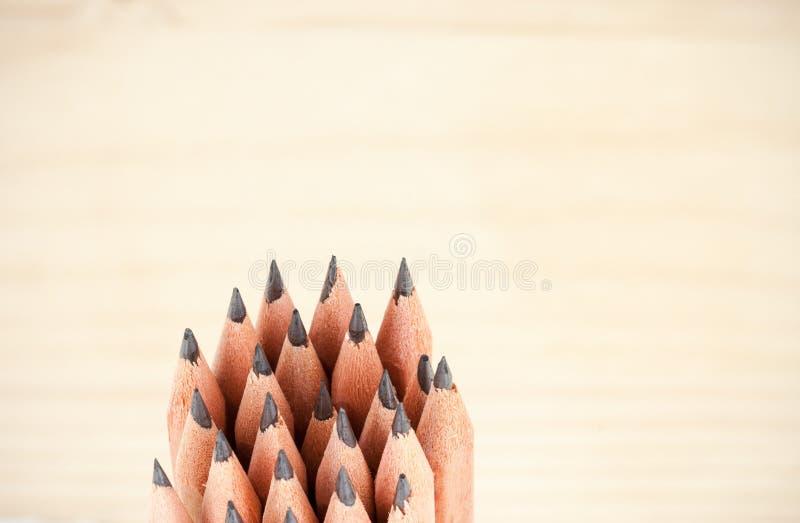 Grupo de estar lápis afiados de madeira baratos imagens de stock