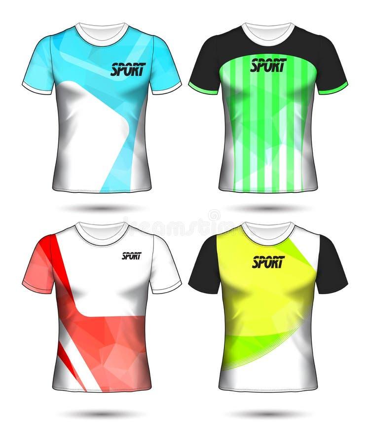 Grupo de estilo do t-shirt do molde do jérsei do futebol ou do futebol, projeto ilustração do vetor