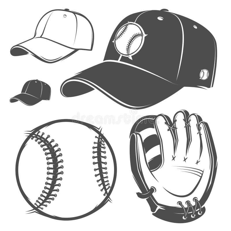 Grupo de estilo monocromático do capacete do bastão da bola do boné de beisebol para emblemas, logotipo e etiquetas ilustração do vetor