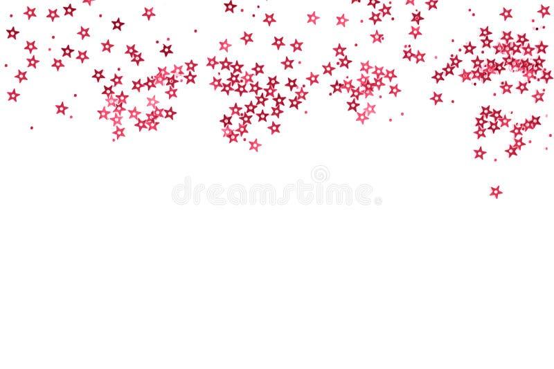 Grupo de estrelas cor-de-rosa no fundo branco imagem de stock