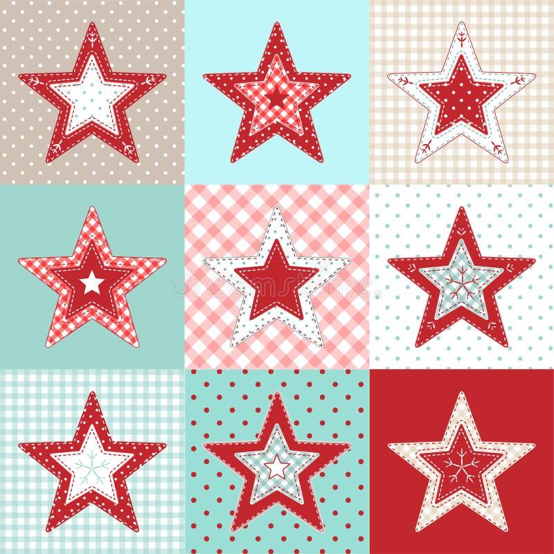 Grupo de estrelas decorativas dos retalhos vermelhos e azuis, ilustração do motriz do Natal ilustração do vetor