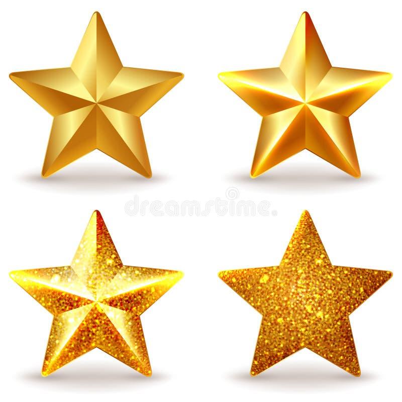 Grupo de estrelas douradas brilhantes ilustração royalty free