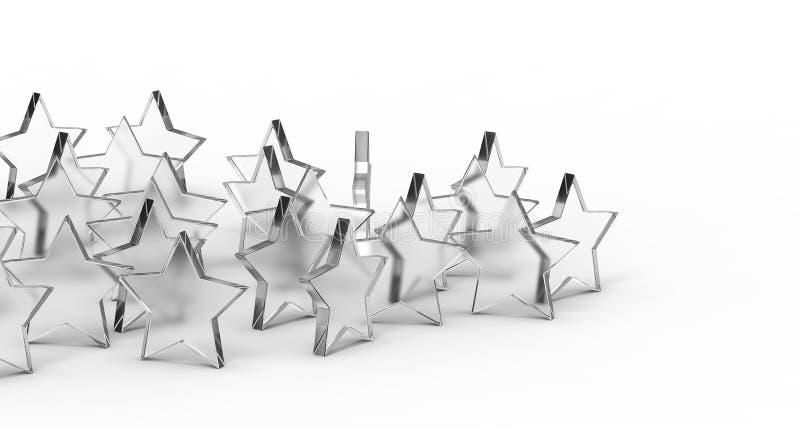 Grupo de estrellas del vidrio aisladas en el fondo blanco representación 3d fotos de archivo libres de regalías