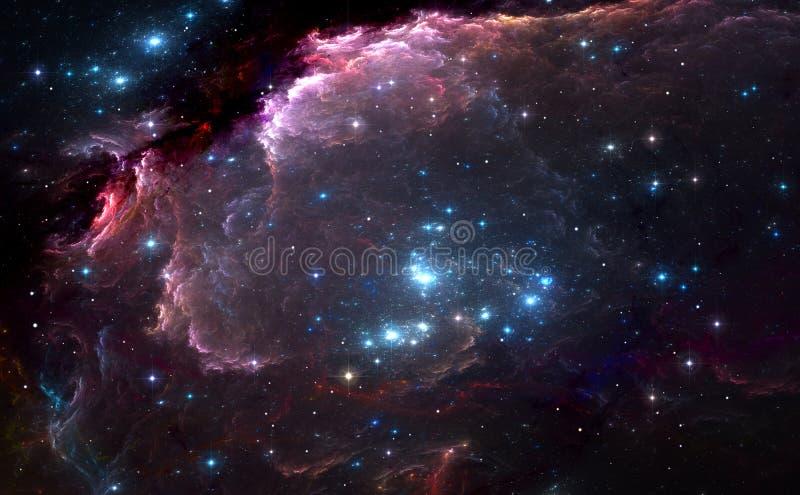 Grupo de estrellas masivas azules brillantes en la nebulosa libre illustration