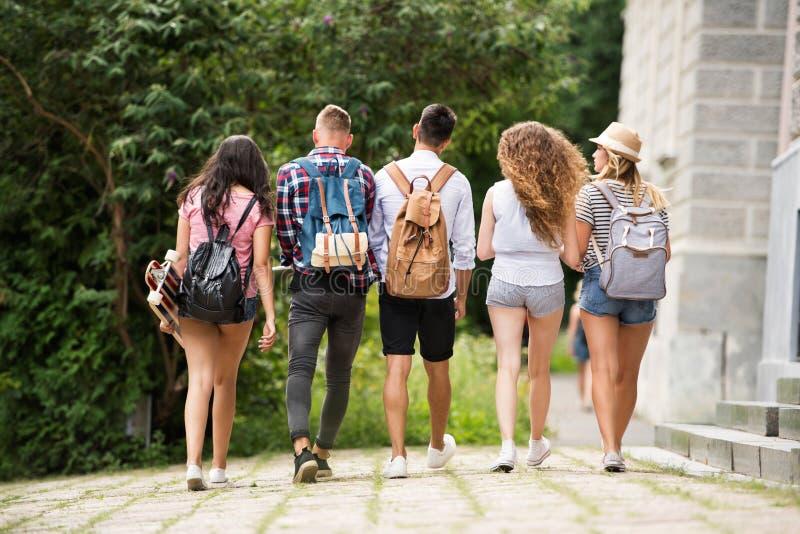 Grupo de estudantes adolescentes atrativos que andam da universidade imagens de stock